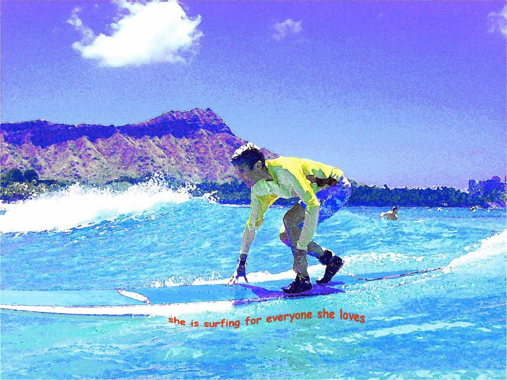 "Judy Wieder; ""Painting"" of Judy surfing in front of Diamond Head"