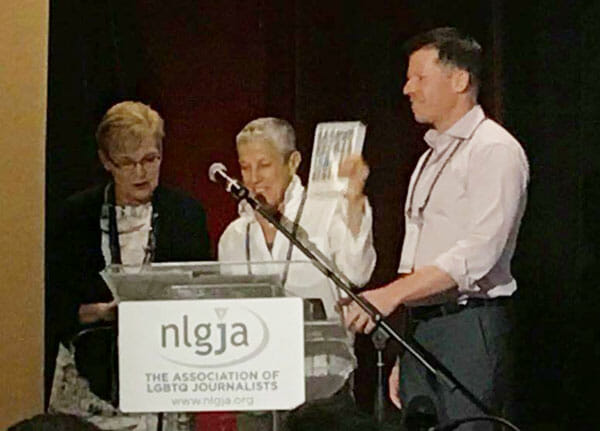 Judy getting the NLGJA Award for Excellence in Book Writing.